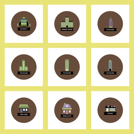 prison house: Collection of stylish vector icons in colorful circles different kinds of buildings