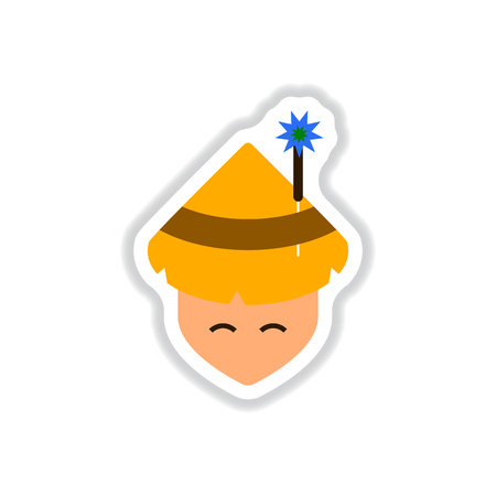 Vector illustration of Chinese new year celebration in paper sticker style Chinese man in traditional conical hat with sparkler