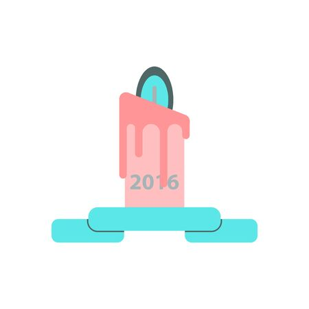 Vector illustration in paper sticker style candle with year number Illustration