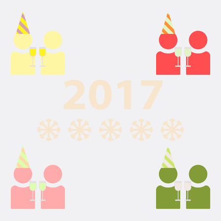 collection of people celebrating christmas Vector illustration New Year Celebration
