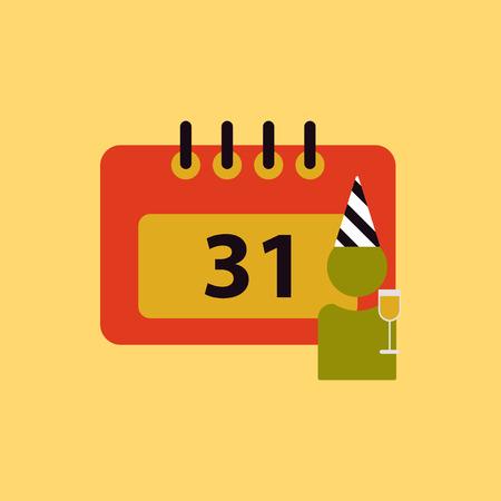 31st: 31st of december calendar Vector illustration christmas calendar 31st of december and man silhouette with wine glass