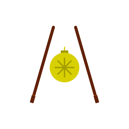 chopsticks Vector illustration of Chinese new year celebration in flat style chopsticks and chirstmas ball