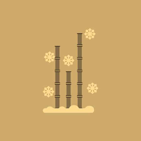 tao: Chinese bamboo Vector illustration of bamboo and snow in flat style