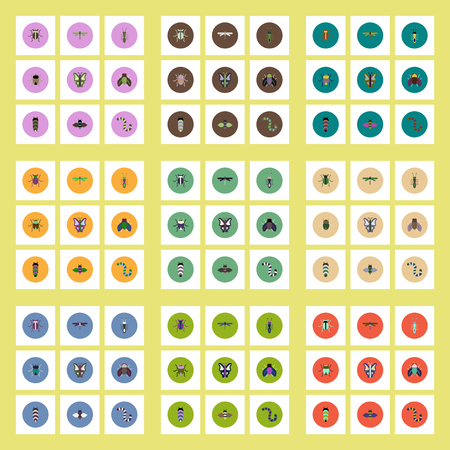stag beetle: Collection of stylish vector icons in colorful circles insects