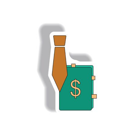 sales manager: sales manager sign Vector illustration in paper sticker style of tie and dollar sign