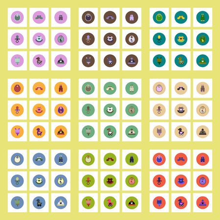 baby stuff: Collection of stylish vector icons in colorful circles Baby Stuff