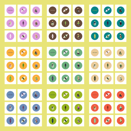 osteoarthritis: Collection of stylish vector icons in colorful circles body osteoarthritis