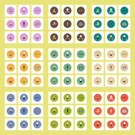 Collection of stylish vector icons in colorful circles body stroke