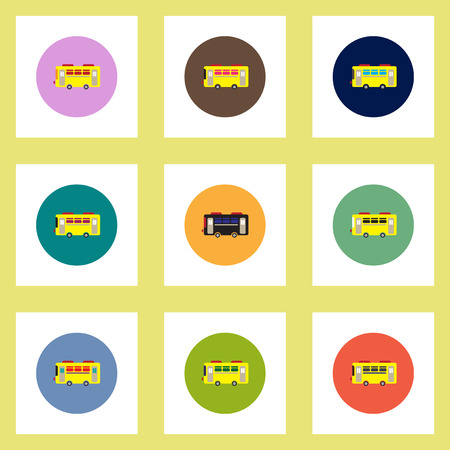 woodstock: Collection of stylish vector icons in colorful circles retro bus
