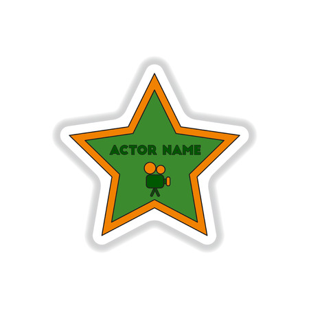 Vector illustration in paper sticker style Walk of fame star with actor name