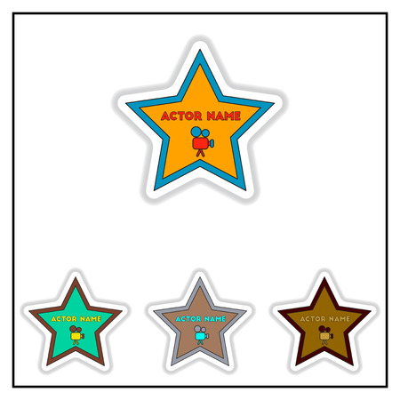 Collection of Vector illustration in paper sticker style Walk of fame star with actor name