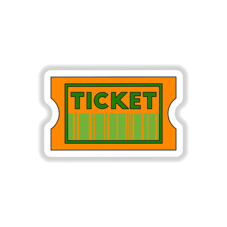 blockbuster: Vector illustration in paper sticker style cinema ticket with barcode