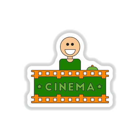shop show window: Vector illustration in paper sticker style Seller sells tickets to cinema