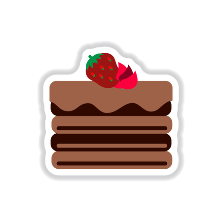 strawberry cake: Vector illustration in paper sticker style delicious chocolate strawberry cake