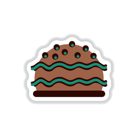 Vector illustration in paper sticker style delicious cake