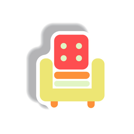 Vector illustration in paper sticker style armchair
