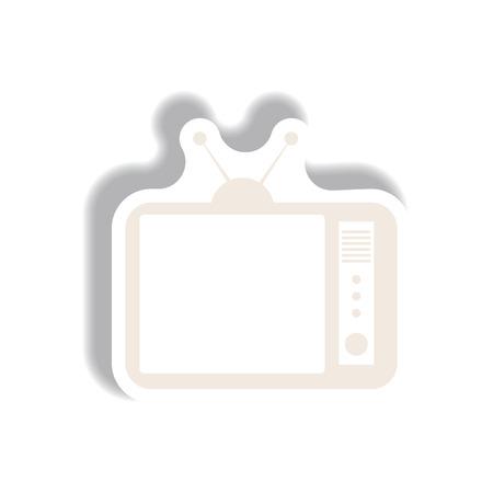 Vector illustration in paper sticker style retro tv Ilustração