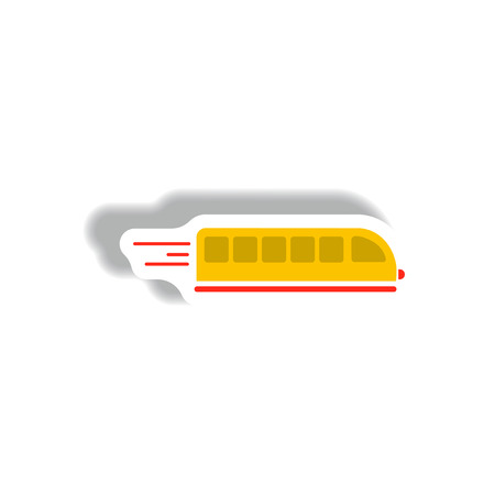 suburban street: stylish icon in paper sticker style high-speed train
