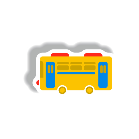 woodstock: stylish icon in paper sticker style retro bus Illustration