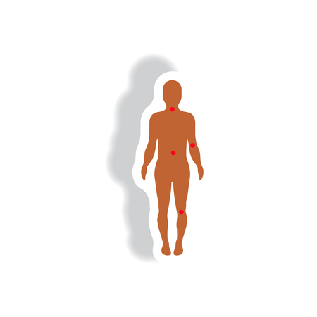 artrosis: icono de estilo en papel artrosis cuerpo sticker Vectores