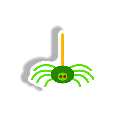 hairy legs: stylish icon in paper sticker style spider insect Illustration