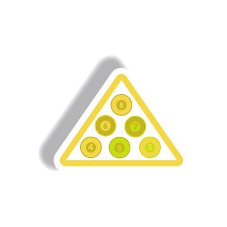 stylish icon in paper sticker style Billiard balls triangle Illustration