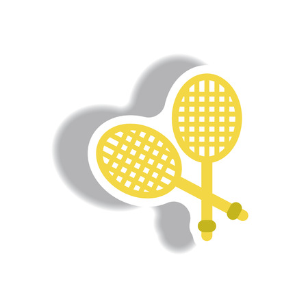 racquetball: stylish icon in paper sticker style tennis rocket