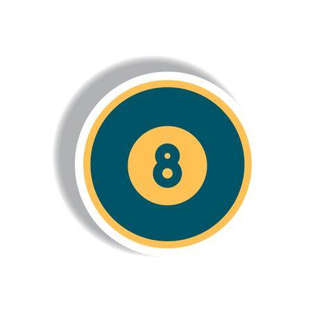 stylish icon in paper sticker style billiard ball Illustration
