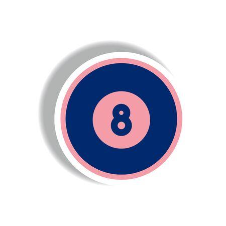billiard ball: stylish icon in paper sticker style billiard ball Illustration