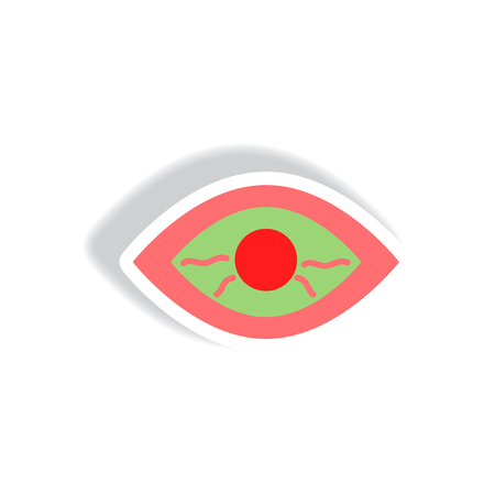 stylish icon in paper sticker style eye problems