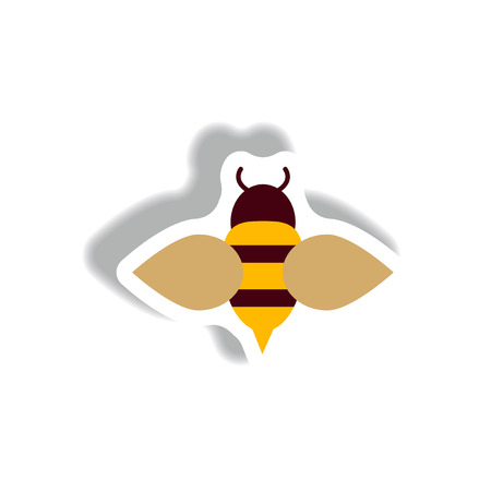 beeswax: stylish icon in paper sticker style Honey bee