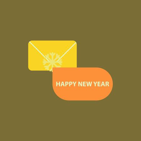 christmas greeting Vector illustration envelope and snowflake