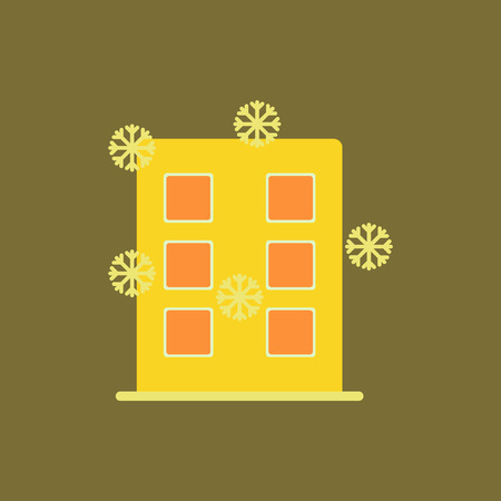 city building with snowflakes Vector illustration building and snow