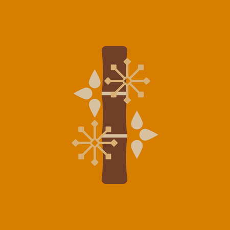 chinese bamboo: Chinese bamboo Vector illustration of bamboo and snowflakes in flat style
