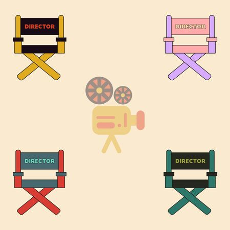 movie director: cinema producer seat Vector illustration Collection in flat style Movie director chair