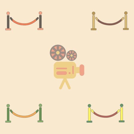 barrier rope: Vector illustration Collection in flat style Barrier rope