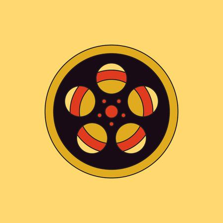 Vector illustration in flat style Tape Bobbin Reel retro cinema vintage