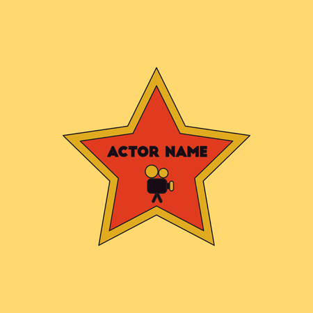 famous actor: Vector illustration in flat style star with actor name