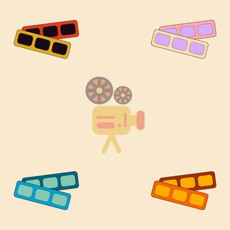 blockbuster: movie tickets Vector illustration Collection in flat style cinema blank ticket Illustration