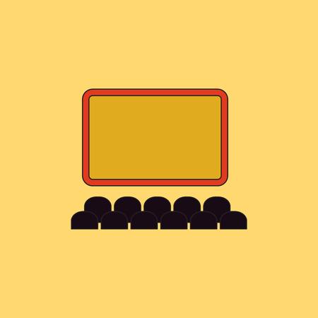 Bioscoop Vector illustratie in vlakke stijl Cinema auditorium met filmscherm en zetels Stock Illustratie