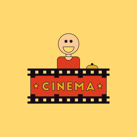 newsstand: Cinema Ticket Office Vector illustration in flat style Seller sells tickets to cinema