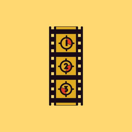 flick: retro movie frame Vector illustration in flat style Film strip countdown Illustration
