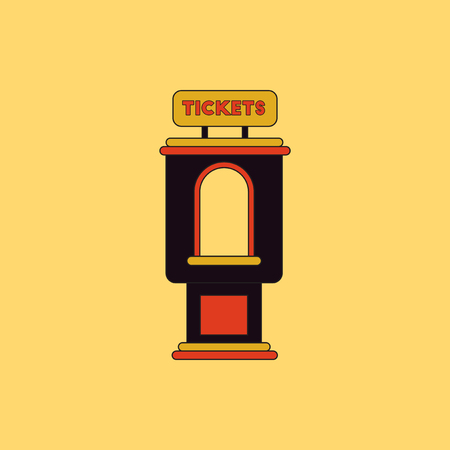 shop show window: Vector illustration in flat style cinema ticket booth Illustration