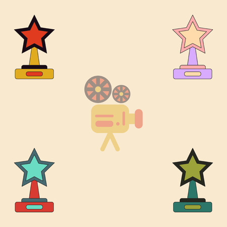 hollywood star: reward Vector illustration Collection in flat style cinema award with big star