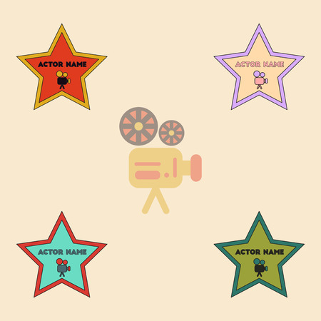 actor: Vector illustration Collection in flat style star with actor name Illustration