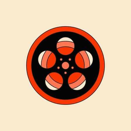 cinematograph: Vector illustration in flat style Tape Bobbin Reel retro cinema vintage