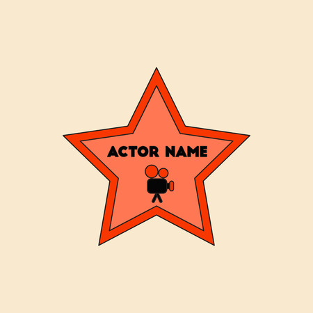 boulevard: Vector illustration in flat style star with actor name