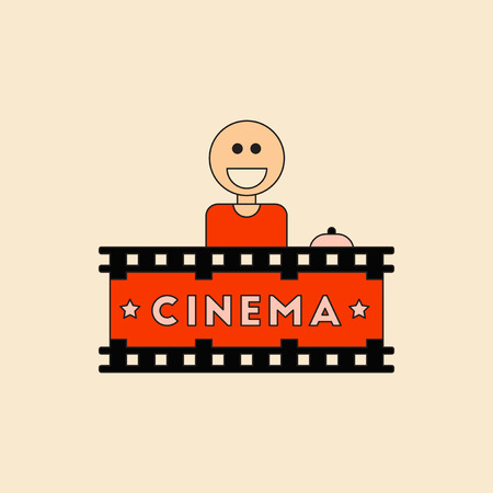 Cinema Ticket Office Vector illustration in flat style Seller sells tickets to cinema