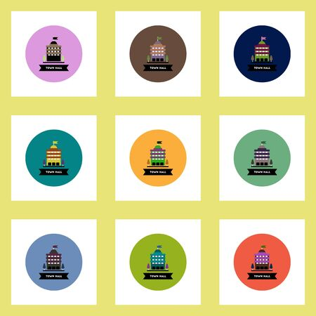 town hall: Collection of stylish vector icons in colorful circles building town hall Illustration