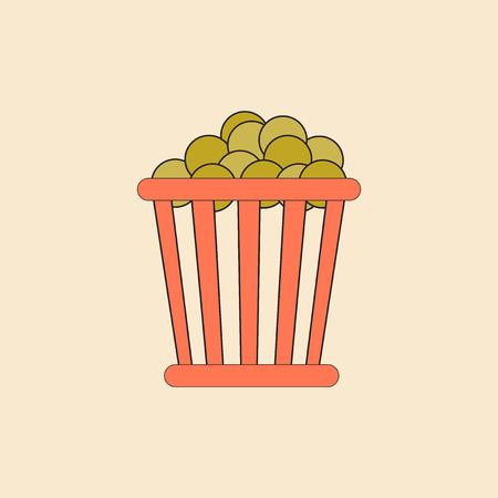 movie snack Vector illustration in flat style Cinema Popcorn